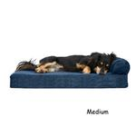 View Image 2 of FurHaven Faux Fleece & Corduroy Chaise Lounge Orthopedic Sofa Dog Bed - Navy Blue
