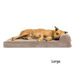View Image 3 of FurHaven Faux Fleece & Corduroy Chaise Lounge Orthopedic Sofa Dog Bed - Sandstone