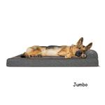 View Image 4 of FurHaven Fleece & Print Suede Chaise Lounge Orthopedic Sofa Dog Bed - Espresso