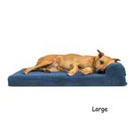 View Image 1 of FurHaven Faux Fleece & Corduroy Chaise Lounge Orthopedic Sofa Dog Bed - Navy Blue