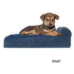 View Image 4 of FurHaven Faux Fleece & Corduroy Chaise Lounge Orthopedic Sofa Dog Bed - Navy Blue