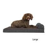 View Image 3 of FurHaven Fleece & Print Suede Chaise Lounge Orthopedic Sofa Dog Bed - Espresso