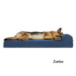 View Image 3 of FurHaven Faux Fleece & Corduroy Chaise Lounge Orthopedic Sofa Dog Bed - Navy Blue