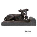 View Image 2 of FurHaven Fleece & Print Suede Chaise Lounge Orthopedic Sofa Dog Bed - Espresso