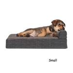 View Image 1 of FurHaven Fleece & Print Suede Chaise Lounge Orthopedic Sofa Dog Bed - Espresso