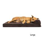View Image 3 of FurHaven Faux Fleece & Corduroy Chaise Lounge Orthopedic Sofa Dog Bed - Dark Espresso