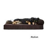 View Image 2 of FurHaven Faux Fleece & Corduroy Chaise Lounge Orthopedic Sofa Dog Bed - Dark Espresso
