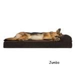 View Image 4 of FurHaven Faux Fleece & Corduroy Chaise Lounge Orthopedic Sofa Dog Bed - Dark Espresso