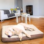 View Image 3 of FurHaven Faux Sheepskin & Suede Deluxe Orthopedic Pet Bed - Clay