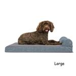 View Image 3 of FurHaven Fleece & Print Suede Chaise Lounge Orthopedic Sofa Dog Bed - Titanium