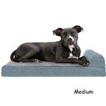 View Image 2 of FurHaven Fleece & Print Suede Chaise Lounge Orthopedic Sofa Dog Bed - Titanium
