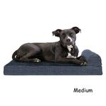 View Image 2 of FurHaven Fleece & Print Suede Chaise Lounge Orthopedic Sofa Dog Bed - Dark Blue
