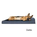 View Image 4 of FurHaven Fleece & Print Suede Chaise Lounge Orthopedic Sofa Dog Bed - Dark Blue