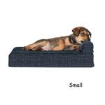 View Image 1 of FurHaven Fleece & Print Suede Chaise Lounge Orthopedic Sofa Dog Bed - Dark Blue