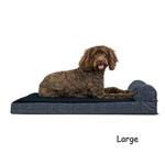 View Image 3 of FurHaven Fleece & Print Suede Chaise Lounge Orthopedic Sofa Dog Bed - Dark Blue