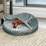 View Image 2 of Furhaven Microvelvet Snuggery Pet Bed - Gray