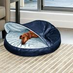 View Image 3 of Furhaven Microvelvet Snuggery Pet Bed - Navy