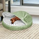 View Image 2 of Furhaven Microvelvet Snuggery Pet Bed - Sage