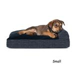 View Image 4 of FurHaven Quilted Fleece & Print Suede Lounge Pillow Sofa-Style Dog Bed - Dark Blue
