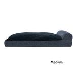 View Image 2 of FurHaven Quilted Fleece & Print Suede Lounge Pillow Sofa-Style Dog Bed - Dark Blue