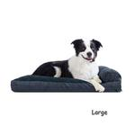 View Image 1 of FurHaven Quilted Fleece & Print Suede Lounge Pillow Sofa-Style Dog Bed - Dark Blue