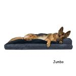 View Image 3 of FurHaven Quilted Fleece & Print Suede Lounge Pillow Sofa-Style Dog Bed - Dark Blue