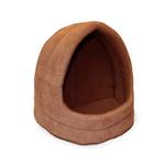 View Image 1 of FurHaven Snuggle Terry & Suede Hood Pet Bed - Camel