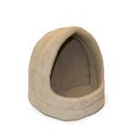 View Image 1 of FurHaven Snuggle Terry & Suede Hood Pet Bed - Clay