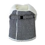 View Image 4 of Furry Houndstooth Dog Harness Coat by Dogo - Black