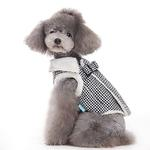 View Image 2 of Furry Houndstooth Dog Harness Coat by Dogo - Black