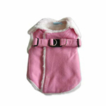 View Image 1 of Furry Winter Harness Coat by Dogo - Pink