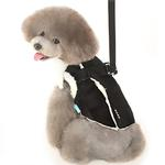 View Image 1 of Furry Winter Dog Harness Coat by Dogo - Black