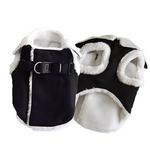 View Image 3 of Furry Winter Dog Harness Coat by Dogo - Black