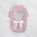 View Image 3 of Pearl Heart Dog Sweater by Hello Doggie - Pink