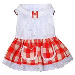View Image 1 of Gingham Country Dog Dress by Dobaz - Red