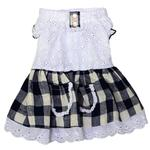 View Image 1 of Gingham Country Dog Dress by Dobaz - Navy