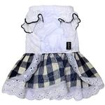 View Image 2 of Gingham Country Dog Dress by Dobaz - Navy