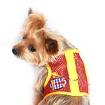 View Image 1 of Gingham Submarine Mesh Dog Harness by Doggie Design - Yellow and Red