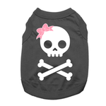 View Image 1 of Girl Skull and Bones Dog Shirt - Black