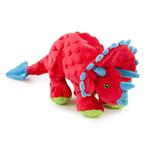 View Image 1 of goDog Dinos Chew Guard Frills Triceratops Dog Toy - Red
