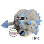 View Image 3 of goDog Dinos Chew Guard Frills Triceratops Dog Toy - Gray