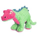 View Image 1 of goDog Spike Dino Dog Toy with Chew Guard - Green and Pink