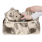 View Image 2 of Gold Croc Metro Tassel Dog Carrier by Petote