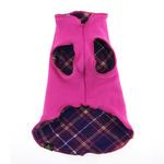 View Image 6 of Gold Paw Reversible Double Fleece Dog Jacket - Mulberry Plaid/Fuchsia