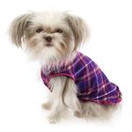 View Image 2 of Gold Paw Reversible Double Fleece Dog Jacket - Mulberry Plaid/Fuchsia