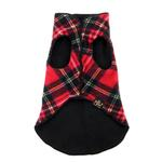 View Image 6 of Gold Paw Reversible Double Fleece Dog Jacket - Red Tartan/Black