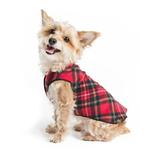 View Image 1 of Gold Paw Reversible Double Fleece Dog Jacket - Red Tartan/Black