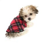 View Image 4 of Gold Paw Reversible Double Fleece Dog Jacket - Red Tartan/Black