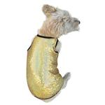 View Image 1 of Gold Stardust Sequined Dog Tank by The Dog Squad