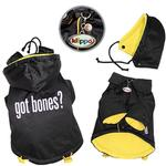View Image 1 of Got Bones? Padded Dog Coat with Removable Hoodie by Klippo